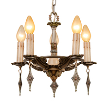 Silver-Toned 5-Light Polychrome Chandelier c1928