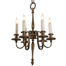 Colonial Revival 6-Light Turned-Style Chandelier c1925