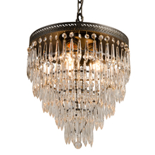 5-Tiered Crystal Chandelier w/ Filigree Ring c1920s