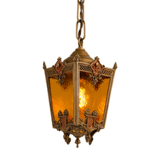 Ornate Brass Entry Pendant w/ Textured Amber Glass c1925