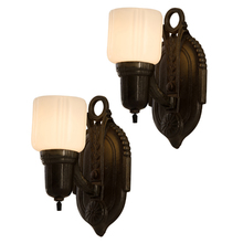 Pair of Iron Art Deco Cup Shade Wall Sconces c1930