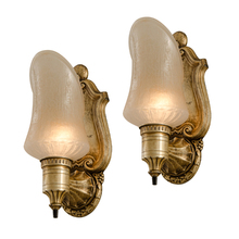 Classical Revival Sconces w/ Iridescent Cup Shades c1930