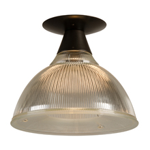 Industrial Flush Mount w/ Prismatic Holophane Shade c1940