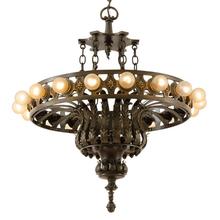 Enormous Bronze 18-Light Classical Revival Chandelier c1920
