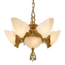 6-Light Art Deco Chandelier w/ Birdwing Slipper Shades c1930