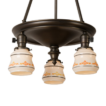 Colonial Revival 3-Light Chandelier w/ Sweet Painted Shades c1925