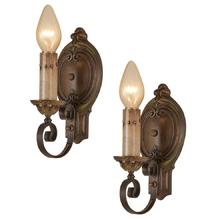 Pair of Romance Revival Candle Sconces w/ Rich Polychrome c1928