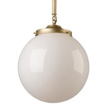Classic Pipe Pendant w/ Opal Globe Shade c1935