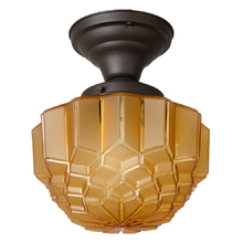 Simple Semi Flush Fixture w/ Amber Faceted Deco Shade c1930s