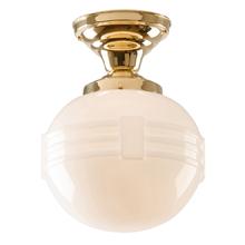 Simple Semi Flush w/ Banded Opal Globe c1930s