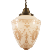 Large Classical Revival Stenciled Shade Pendant c1925
