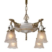 Two-Tone Colonial Revival Chandelier w/ Pressed Shades c1925