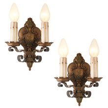 Pair of Revival-Style Candle Sconces w/ Original Polychrome c1928