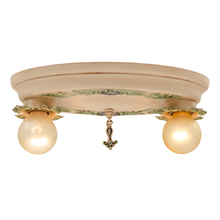 Petite Polychromed 2-Light Flush Mount c1928