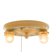 Petite Polychromed 2-Light Flush Mount w/ Pull Chain c1928
