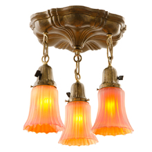 Lovely 3-Light Sheffield Fixture w/ Carnival Glass Shades c1920