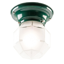 Classic Faceted Entry Light w/ Hunter Green Fixture c1930