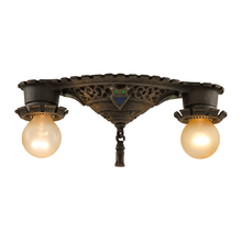 2-Light Heraldic Flush Mount Fixture c1928
