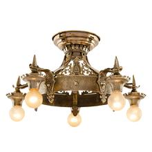 Solid Brass 5-Light Heraldic Fixture c1928