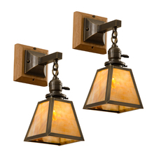 Pair of Arts & Crafts Sconces with Art Glass and Oak Canopies c1910