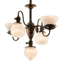Late-Victorian Gas/Electric Chandelier w/ Holophane Shades c1900