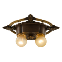Ornately Decorated 2-Light Flush Fixture c1928