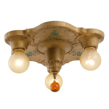 3-Light Flush Mount w/ Polychrome Highlights c1930