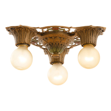 Three-Light Flush Fixture w/ Polychrome Finish c1928