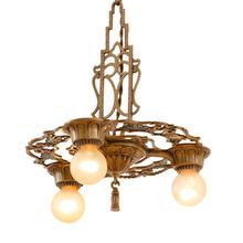 Ornate 3-Light Pan Chandelier w/ Polychrome Finish c1928