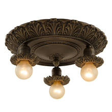 Three-Light Fixture w/ Deeply Stamped Acanthus Motif c1925