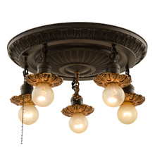 Five-Light Flush Fixture w/ Contrast Finishes c1925