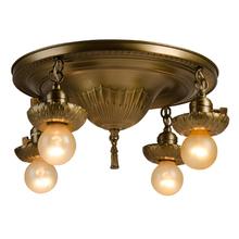 Classical Revival 4-Light Flush Fixture w/ Gentle Acanthus Motif c1925