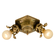 Early 2-Light Flush Fixture in Brass c1910