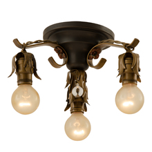 Strappy 3-Light Flush Fixture w/ Polychrome Finish c1928