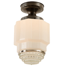 Art Deco Semi Flush Fixture w/ Bubble Lens c1935