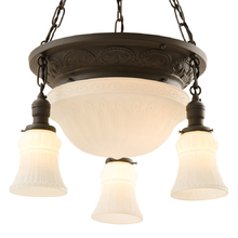 Colonial Revival Bowl Chandelier w/ Satin Opal Shades c1925