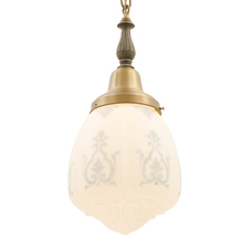Classical Revival Two-Tone Pendant w/ Stenciled Shade c1928