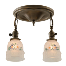 Sweet Semi-Flush Pan Fixture w/ Painted Shades c1925