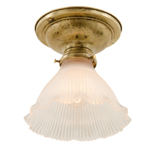 Well-Patinated Flush Fixture w/ Holophane Shade c1910